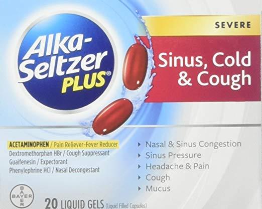 Details about 4 Pack Alka-Seltzer Plus Severe Sinus, Cold & Cough Liquid  Gels 20ct