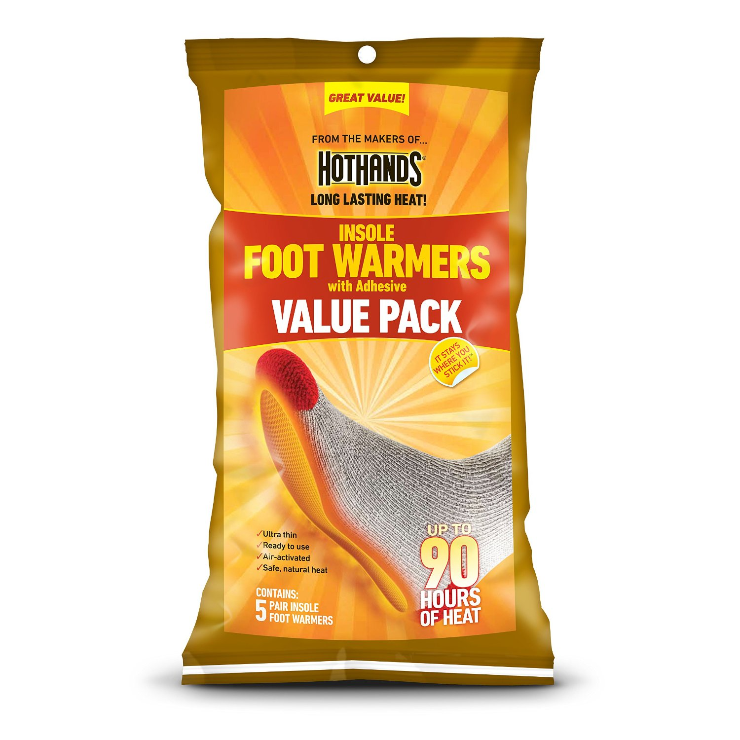 Adhesive 5 Pairs EXTRA WARM THE HEAT COMPANY Insole Foot Warmers Adhesive